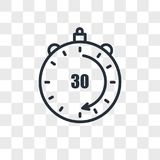 30 minutes vector icon isolated on transparent background, 30 minutes logo design. 30 minutes vector icon isolated on transparent background, 30 minutes logo Stock Photo
