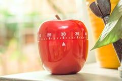 30 minutos - temporizador vermelho do ovo da cozinha ao lado de Windows e dos vasos de flores Foto de Stock
