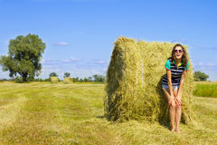 Minx girl on the sunny field. Stock Photo