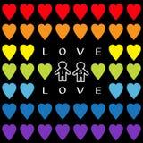 Miłość jest miłości tekstem Tęczy serca set Małżeństwo homoseksualne dumy symbolu Dwa mężczyzna konturowego znaka Bezszwowy wzór  Zdjęcia Royalty Free