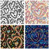 Miłość koloru czarnego białego doddle bezszwowy wzór Zdjęcie Stock