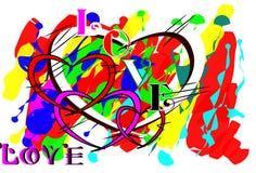 Miłość projekta stylu muśnięcie Obrazy Royalty Free