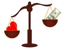 Miłość vs pieniądze pojęcie Wektorowy szablon - miłość wygrywa - Obraz Royalty Free