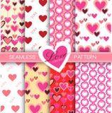 Miłości kolekcja: Set 8 miłość inkasowych bezszwowych wzorów Zdjęcia Stock