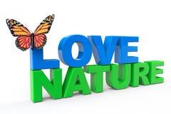 Miłości natury znak z motylem Obrazy Royalty Free