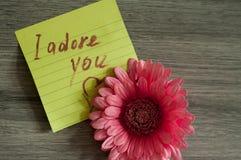 Miłości notatka Adoruję ciebie Zdjęcia Stock
