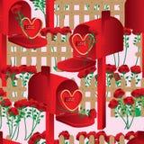 Miłości płotowej skrzynki pocztowa bezszwowy wzór Zdjęcia Stock