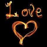 Miłości serce ogień Obrazy Stock