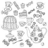 Miodowa herbata z filiżankami Ręka rysująca wektorowa ilustracja Fotografia Stock