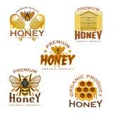 Miodowa ikona z pszczołą, honeycomb, ulem i chochlą, ilustracji
