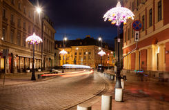 Miodowa Street in Warsaw at Night Stock Image
