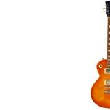 Miodowa sunburst rocznika gitara elektryczna na prawej stronie biały tło z obfitością kopii przestrzeń, Obrazy Royalty Free
