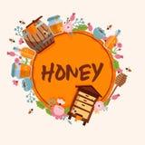 Miodowego słodkiego wektorowego pasieki gospodarstwa rolnego beekeeping sztandaru tła honeymaker pszczoły insekta beeswax tła ilu ilustracja wektor