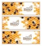 Miodowi sztandary z Pracującymi pszczołami ilustracja wektor