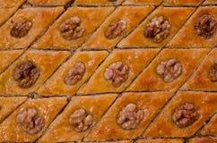 Miodowy Baklava, tradycyjni Tureccy cukierki zbliżenie Zdjęcia Royalty Free
