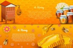 Miodowy lub naturalny produkt rolniczy beekeeping lub ogród Zdrowie, organicznie cukierki, medycyny ilustracja, rolnictwo Jedzeni royalty ilustracja