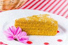Miodowy tort na bielu talerzu Zdjęcia Royalty Free
