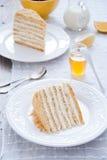 Miodowy tort z waniliową śmietanką Obraz Royalty Free