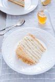 Miodowy tort z waniliową śmietanką Obrazy Stock