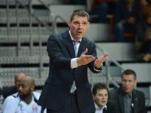 Miodrag Rajković - Head coach of Turów Zgorzelec. 2nd round Euroleague basketball match between the PGE Turow Zgorzelec and Fenerbahce Ülker Istanbul royalty free stock image