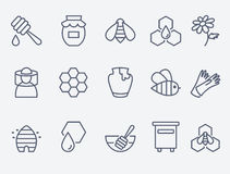 Miodu i beekeeping ikony Obrazy Stock