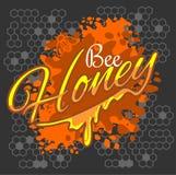 Miodu i pszczoły etykietka Fotografia Stock