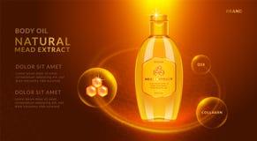 Miodu istotnego oleju reklamy, 3d ilustracja Fotografia Stock