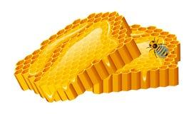 Miodu set, pszczoła, rój, honeycomb, rój i pasieka, Naturalny produkt rolniczy beekeeping lub ogród, kwiatu chamomile ilustracja wektor