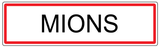 Mions city traffic sign illustration in France Royalty Free Stock Images