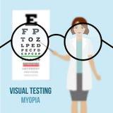 Miopía de la prueba de la visión del ojo Fotografía de archivo