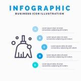 Miotła Czyści, Czysty, zakres Kreskowa ikona z 5 kroków prezentacji infographics tłem ilustracji
