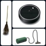 Miotła, próżniowy cleaner i mechaniczny próżniowy cleaner, Fotografia Royalty Free