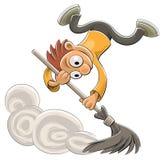 miotły cleaner pyłu szczęśliwy target2422_0_ Obrazy Royalty Free