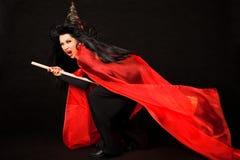 miotły latania krzycząca czarownica Fotografia Royalty Free