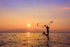 Miotanie sieć rybacka obraz royalty free