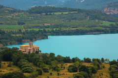 Mipanas, Aragon, Spain. Mipanas lake and building, Aragon, Spain stock images