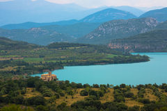Mipanas, Aragon, Spain. Mipanas lake and building, Aragon, Spain stock photo