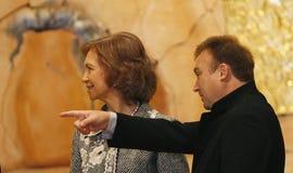 Miquel Barcelo en Koningin Sofia van Spanje Stock Afbeeldingen