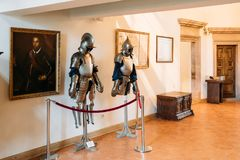 Mir, Belarus. Armor of the knights warriors In Armored Room In Castle Complex Museum stock image