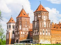 Mir, Belarus. Castle Complex Mir On Sunny Day with blue sky Background. Old medieval Towers and walls of traditional royalty free stock image