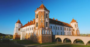 Mir, Belarus. Mir Castle Complex. Architectural Ensemble Of Feudalism, Ancient Cultural Monument, UNESCO World Heritage. Site. Famous Landmark In Summer Sunny stock footage