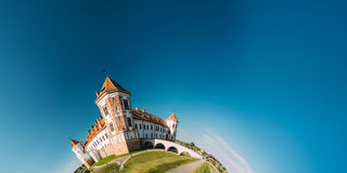 Mir, Belarus. Mir Castle Complex On Blue Sunny Sky Background. U Royalty Free Stock Image