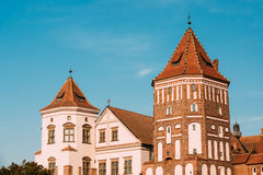 Mir, Belarus. Old Towers Of Mir Castle Complex On Blue Sunny Sky Royalty Free Stock Photos