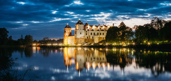 Mir, Belarus. Panorama Of Mir Castle Complex In Bright Evening I Royalty Free Stock Photography