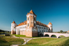 Mir, Belarus. Towers Of Mir Castle Complex On Blue Sunny Sky Background. Architectural Ensemble Of Feudalism Royalty Free Stock Photos