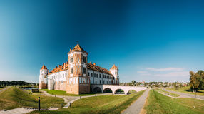 Mir, Belarus. Towers Of Mir Castle Complex On Blue Sunny Sky Background. Architectural Ensemble Of Feudalism Royalty Free Stock Photography