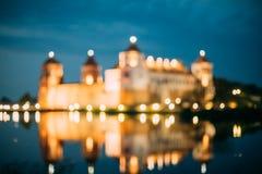 Mir Belarus Unscharfer Fokus Boke Bokeh von Mir Castle In Night Ill Stockfotografie