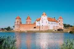 Mir, Belarus. View Of Mir Castle Complex, Ancient Monument, Unesco. Mir, Belarus. Scenic View Of Mir Castle Complex From Side Of Lake. Architectural Ensemble Of Stock Image