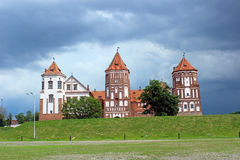 Mir Castle on the background of a stormy sky. In Belarus Royalty Free Stock Photo