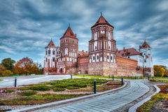 Mir castle in Belarus. High dynamic range (hdr) image of medieval Mir castle famous landmark in town Mir, Belarus Stock Image